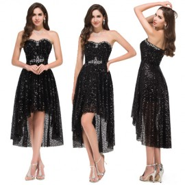 Black Sequins Sexy Strapless Women Short Front Long Back Prom dress Gown High Low Evening Dresses Gowns Lace Up Back C8915