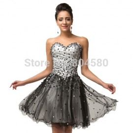 Black Sweetheart Beading Short Prom dress A Line Evening Dresses Women Custom Made Special Occasion Party Gown 6137