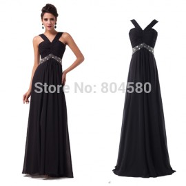 Brand  Fashion Chiffon evening dresses Halter Design Long Women Party Gown Black Prom Dress with waist Beads CL6013