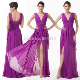 Brand New Purple Chiffon Tank Evening Dress V Neck Formal Party Prom dresses Sleeveless Elegant Bandage Gown Plus Size D6186