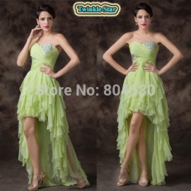 Brilliant Sexy Asymmetrical Short Front Long Back Chiffon Prom Dresses Women Evening Party dress Formal Gowns Light Green CL6287