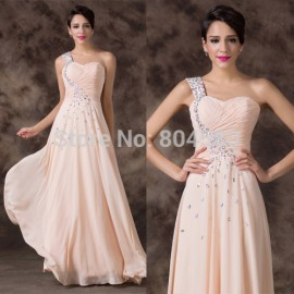 Charming  A Line One Shoulder Sleeveless Bead Homecoming Dance Gown Long Evening Formal Party dress  Prom dresses CL6195