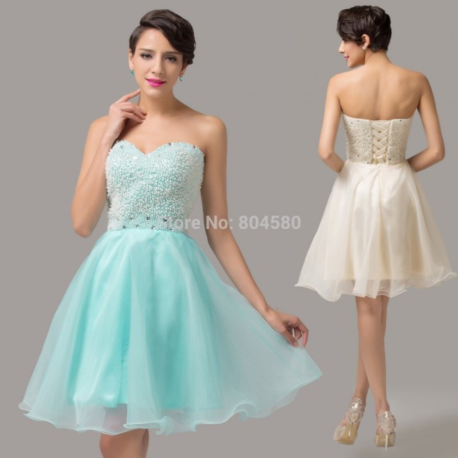 Charming  Knee length Organza Ball Gown Blue Bead Formal party Homecoming dresses Sexy Evening Prom dress  CL6144