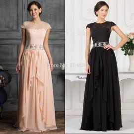 Cheap Grace Karin Floor Length A Line Cap Sleeve Homecoming Maxi dress Long Formal Party Gown Women Evening dresses prom CL7520