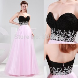 Cheap Hot sale A line Sleeveless Black&Pink Long Evening Dresses Lace up back Homecoming prom party Gown CL4415