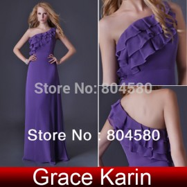 Cheap Price  One Shoulder stock Chiffon Celebrity dress Formal Evening dresses Full Length Long Party Prom Women Gown  CL3464