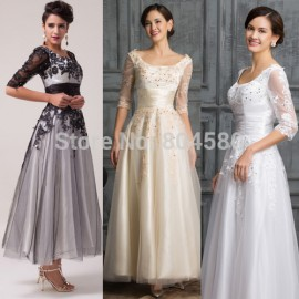 Cheap Stock Lace & Tulle Long Prom Gown Embroidery Half Sleeve Evening Dress Women Retro Vintage Party dresses   CL6051