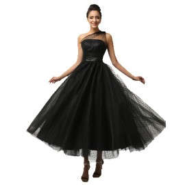 Cheap One Shoulder Ball Gown Tulle Lace Prom Dress 2015 Feather Black Women Evening dresses Ankle Length CL7561