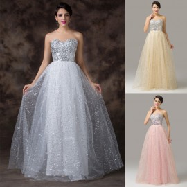 Cheap Prom Ball Gown Pink White Sexy Long Evening Dresses 2015 Tulle Backless Formal Gowns Women Party Dress Real Stock 6150