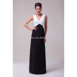 Chic Unique Floor Length Deep V-Neck Office Chiffon Celebrity Dress Formal Evening Prom Party Long Dresses CL6036