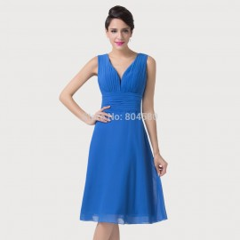Christmas   Fashion Sleeveless Blue Formal Dresses For Women Special Occasion Dinner Party Gown Short Prom Dress CL6218