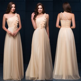 Classy Grace Karin One Shoulder Sexy Party Evening Dress in Stock Chiffon Backless Long Maxi Prom Dresses for Celebrity  C4466