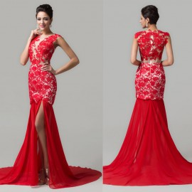 Custom Design Red Cap Sleeve Mermaid Bandage Dress Stock Latest New Prom dresses Train Lace Appliques Long Evening Gowns CL6120