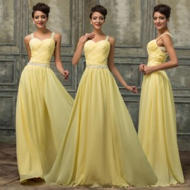 Custom Design Sexy Women Yellow Chiffon Sleeveless Prom dresses Long Party Dress 2015 Formal Evening Gowns Floor Length CL7577
