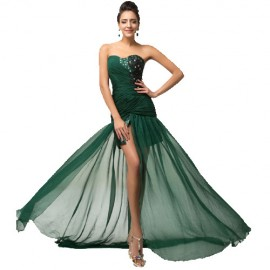 Dark Green Floor-Length Silk-Like High Split Gown Sheath Bandage Long Evening Dress Train Formal Prom Party Dress Women D7570