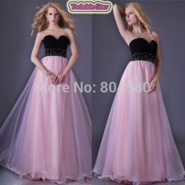Discount Top Stock Strapless Tulle Floor Length Party Gown Sweetheart  Prom Dresses Beach Evening Dress  CL3465