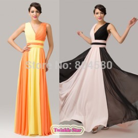 Elegant Deep V neck Maxi Evening dress Empire Line Celebrity dresses Formal prom Gown  CL6172