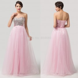 Elegant Design Grace Karin Long Beads Pink Formal Occasion Party Gowns Sexy Women Evening Prom Dresses  Ball Gown CL6121