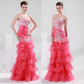 Elegant DesignGrace Karin Stock Strapless Organza women Evening Dress Fashion Prom party Gown Long Mermaid Dress  CL6073