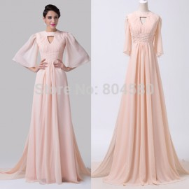 Elegant European Women Flare Sleeve Celebrity dresses Chiffon Floor Length Pink Evening Prom Party Dress vestido de renda CL6271