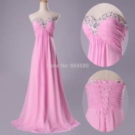 Elegant Fashion Floor Length Blue/Pink Beaded Sleeveless formal dresses Maxi Prom Gown Cheap Evening Party dress Stock  CL3518