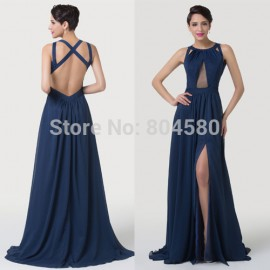 Elegant Floor Length Sexy Long Chiffon evening dress Sleeveless Backless Celebrity dresses Formal Women Prom Party Gown CL6281
