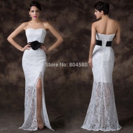 Elegant Grace Karin Flower Waist White Lace Sexy Bandage dress Slit Front Long Evening prom party dresses Formal Gowns CL6288