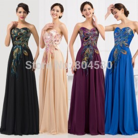 Elegant Grace Karin Strapless Peacock Applique Sleeveless Lace Up Back Formal Evening dress   Long Prom Party Gown CL6168
