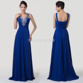 Elegant Lace up Back Long Beads Chiffon Celebrity dresses Floor Length Deep V neck Formal Evening Prom Gown Party dress CL6197