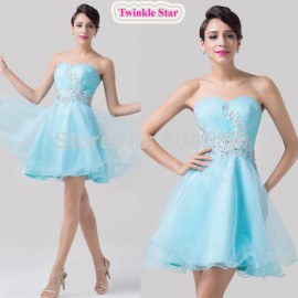Elegant  Fashion Knee length Strapless Blue Color Sweetheart Women Dress Party Evening Prom dresses Gown CL6178