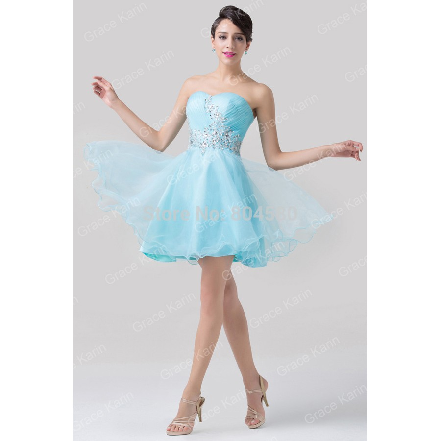 Fashion Knee length Strapless Blue Color Sweetheart Women Dress ...