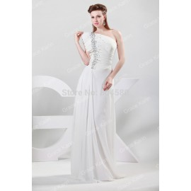 Elegant Stock One shoulder Floor Length Chiffon party Evening Dresses Celebrity Dress Formal Gowns Prom  CL6085 (AL12)