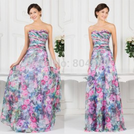 Elegant Strapless Floor Length Chiffon Floral Print Evening dresses   Vintage Flower Special Occasion Party Gown CL7509