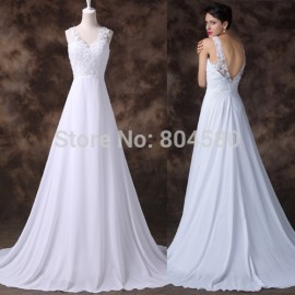 Elegant White Sleeveless Deep V neck A Line Evening dress Long Formal Gowns Women Backless Prom dresses   Fashion CL6252