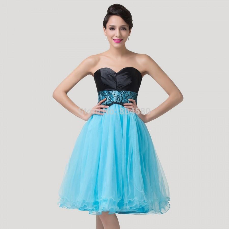 Elegant Women Strapless knee length Short Prom Dress Crystal Blue ...
