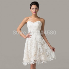 Elegant Design! Grace Karin off shoulder women Celebrity Party Dress Lace prom Dresses white Short Evening Gowns CL6126