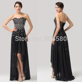 Elegant! Grace Karin Strapless Chiffon Long Black Evening Dress Party Gown Prom 2015 8 Size US 2~16  CL6166