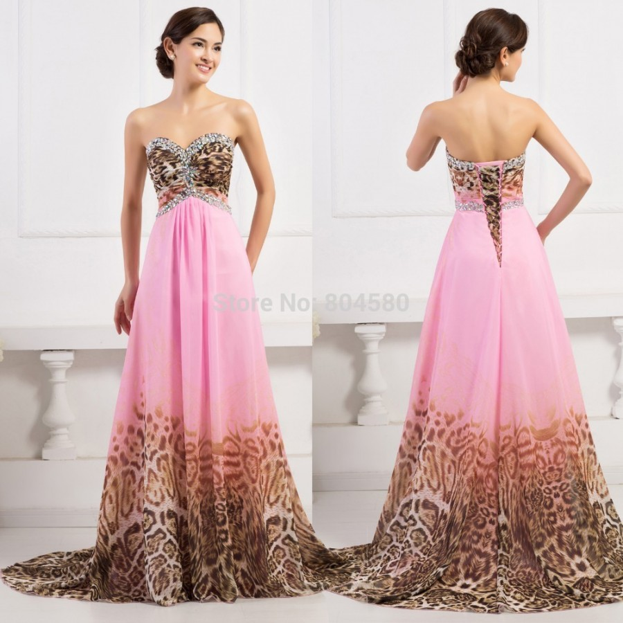 European Style Pink Leopard Printed Evening Dresses Women Long Prom Gown Floor Length Fashion