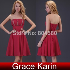 Fashion Design Grace Karin Stock Strapless Sequins women casual Sunday dress Red Formal evening dresses short prom gown CL3422