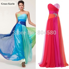 Fashion DesignGrace Karin  Colorful Chiffon Formal Prom Gown Strapless Beaded Blue Red Long Evening Dresses CL6069