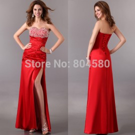 Fashion Sexy Floor length Strapless split Prom Dress Long Celebrity Bandage dresses Red/ Green Formal Evening Gowns CL2588