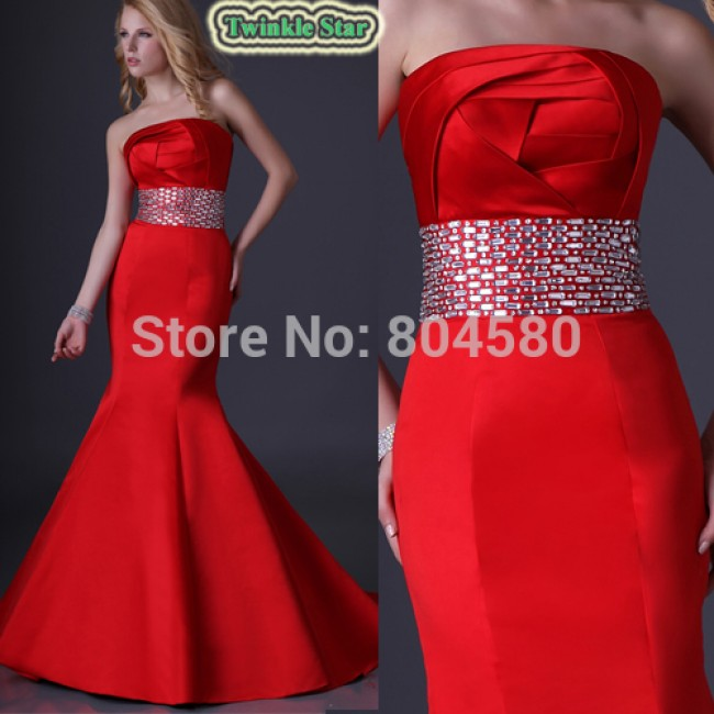 Fashion Sexy Stock Strapless Satin Mermaid Prom Dress Fashion Women Bandage Party Gown Red Evening Dresses CL3825