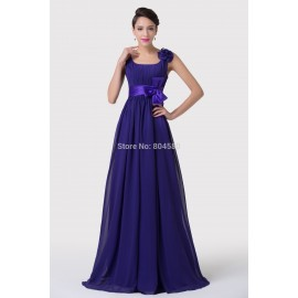 Fashion Style Floor Length Purple Chiffon Winter Long Evening dresses for Mother Dance Prom Gown Formal Party dress Brand CL6226