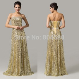 Fashion Women Floor Length Red Carpet Celebrity dresses A Line Formal Party Prom dress Long Evening Gowns with sequins CL6103