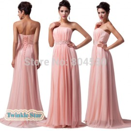 Delivery GK Stock Strapless Floor-Length Formal Evening Gown Long Prom Party Dress    CL6008