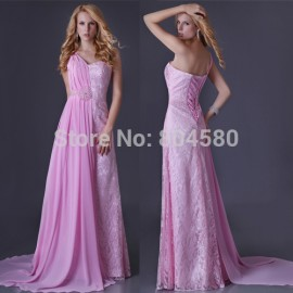 Delivery Sexy Stock One shoulder Chiffon & Lace evening dress Long Party Dresses Gown Prom Ball CL3522