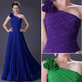 Delivery Stock Women Sexy One Shoulder Pleated Party Gown Long Prom Ball Evening Dress  CL3467