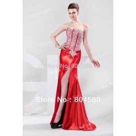 DeliveryStunning Sequin Corset Floor Length Split Front Formal Evening Gown Fashion Party Prom Long Dress CL4421
