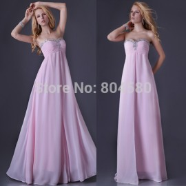 delivery  Sexy Stock Sleeveless Birthday Party dress Long Prom Gown Floor Length Chiffon Evening Dress  CL3523