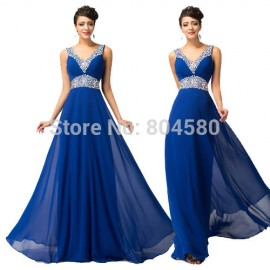 Fast Shipping Floor Length Chiffon Evening Party Gown V Neck Bodycon Prom Dresses Backless Celebrity Dress 2015 Women 4410